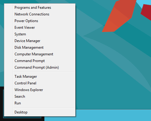 Windows 8 Consumer Preview Quick Access Menu