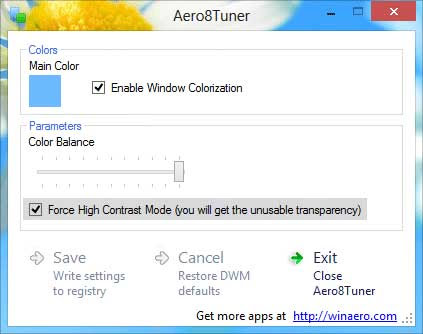 Force High Contrast Transparency Mode Windows 8
