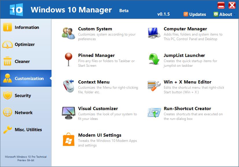 Windows 10 Manager (Panel Customize)