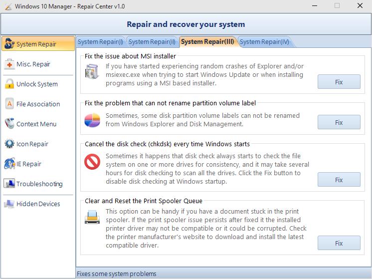 Windows 10 Manager (System Repair)