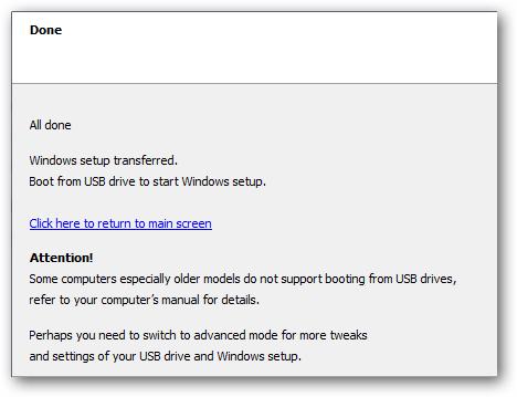 Proses Penyalinan Windows 7 ke Flashdisk Selesai
