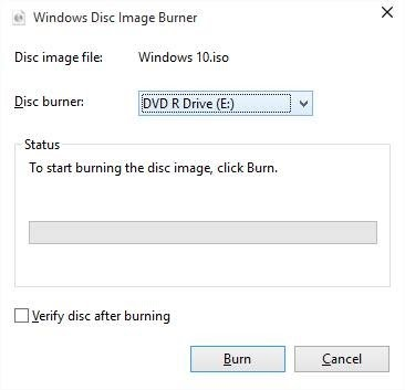 Burn DVD Windows 10