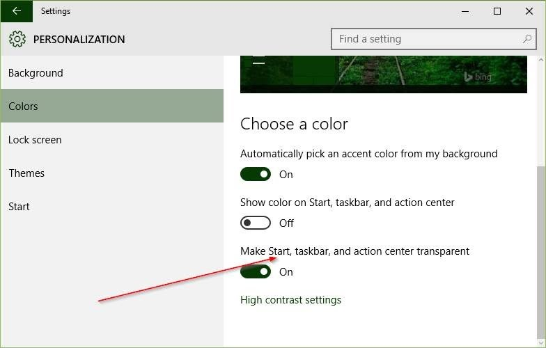 Make Start, taskbar, and action center transparent