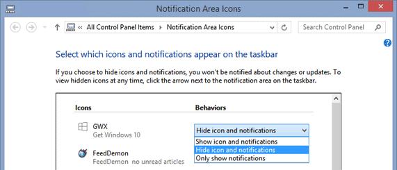 Menyembunyikan Icon Get Windows 10