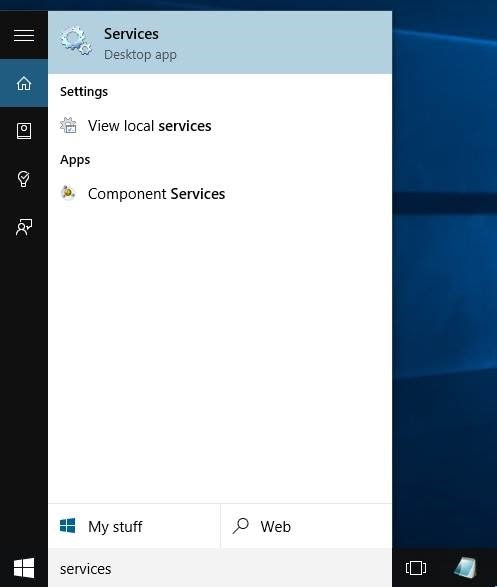 Membuka Services Windows 10