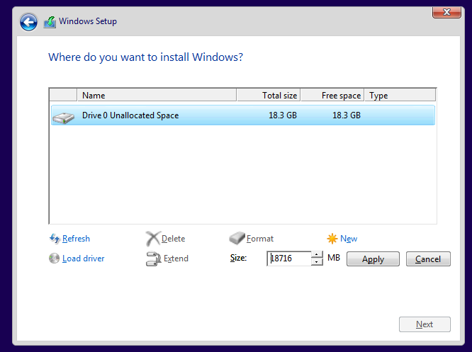 Partisi Install Windows 10