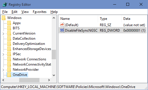 Registry Key OneDrive