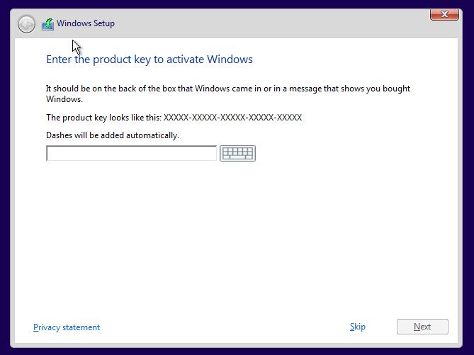 Skip Product Key Windows 10