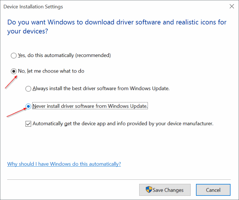 Disable Update Driver Windows 10