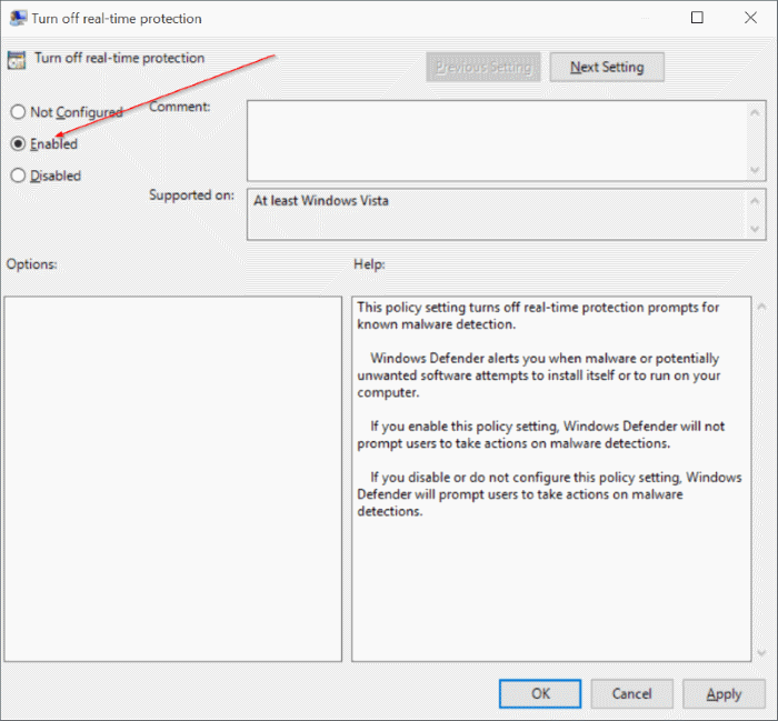 Group Policy Turn off real-time protection