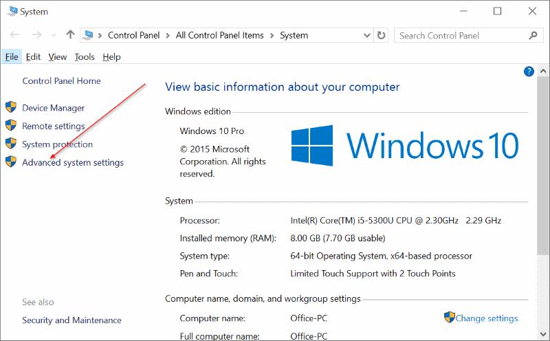 Membuka Advanced System Settings Windows 10