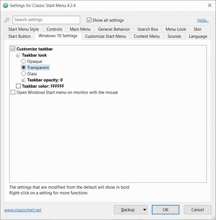 Efek Transparan dan Blur Pada Taskbar dan Start Menu