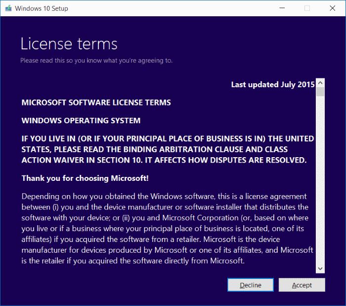 License terms Windows 10 Media Creation Tool