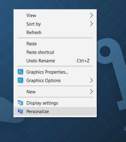 Membuka Personalization Windows 10