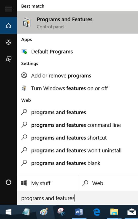 Membuka Programs and Features