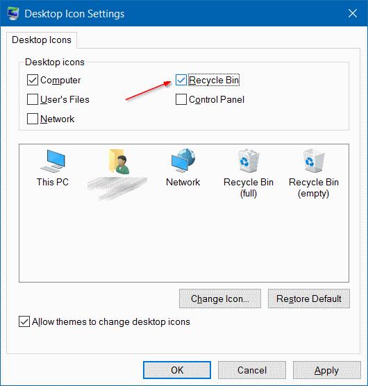 Menampilkan Icon Recycle Bin, This PC, dan User's Files