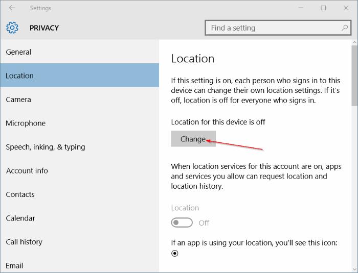 Pengaturan Location Windows 10