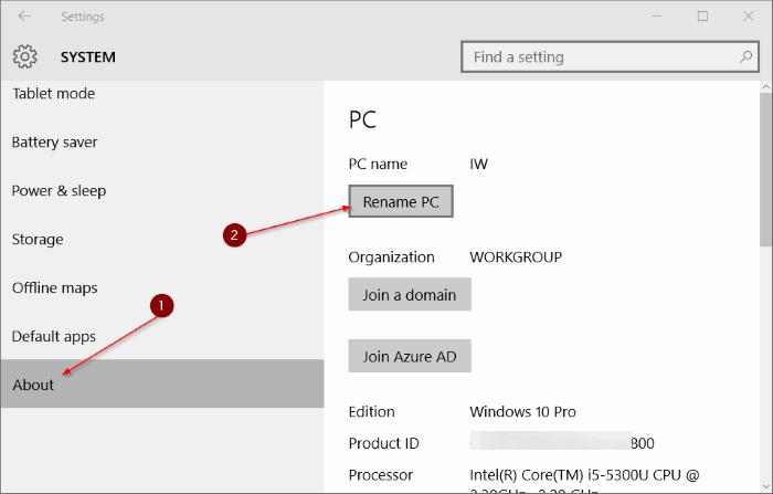Rename PC Windows 10