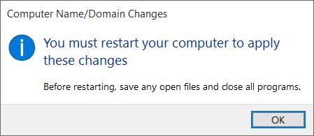 Restart Setelah Mengganti Nama Komputer