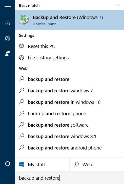 Backup and Restore (Windows 7)
