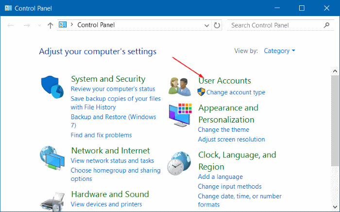 Control Panel User Accounts Windows 10