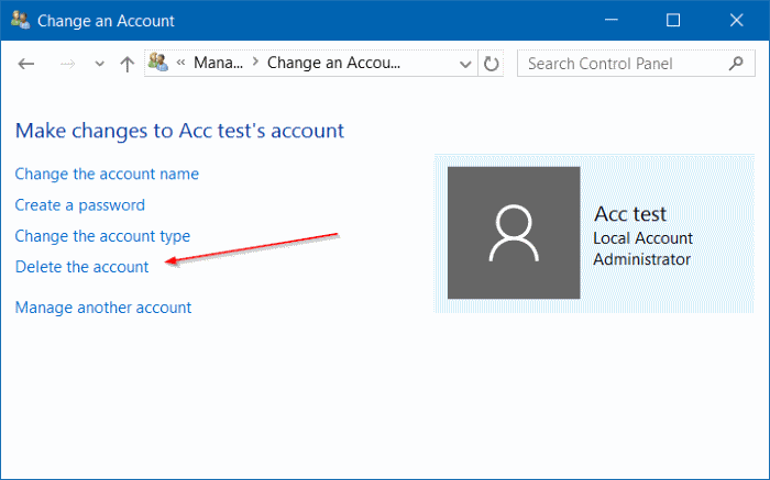 Delete the account User Accouts Windows 10
