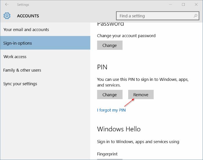 Hapus PIN Windows 10