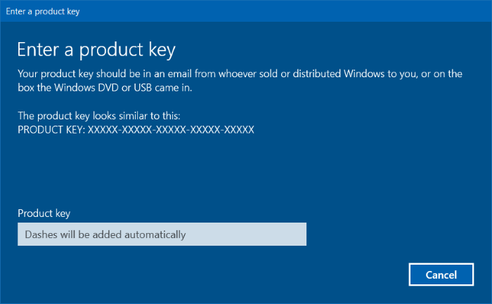 Input Product Key Windows 10