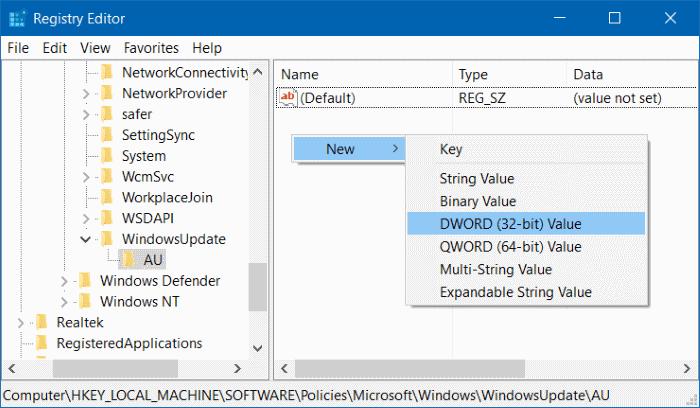 Membuat Key DWORD 32-bit