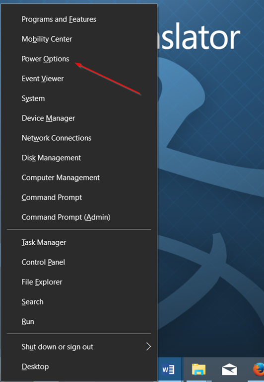 Membuka Power Options di Windows 10