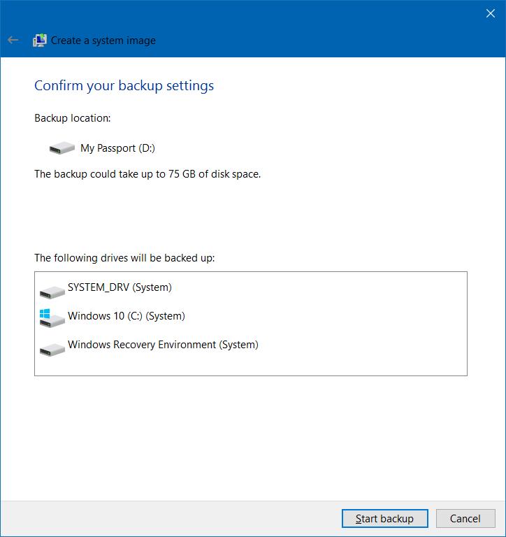 Memulai Backup Windows 10