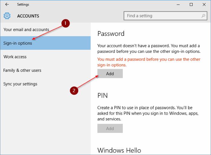 Menambahkan Password ke Windows 10