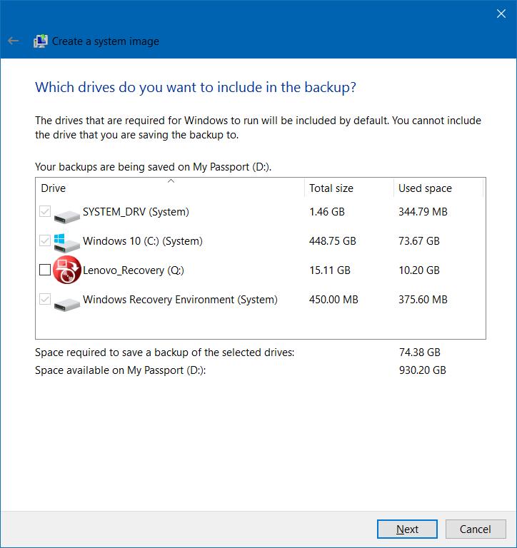Partisi Backup Windows 10