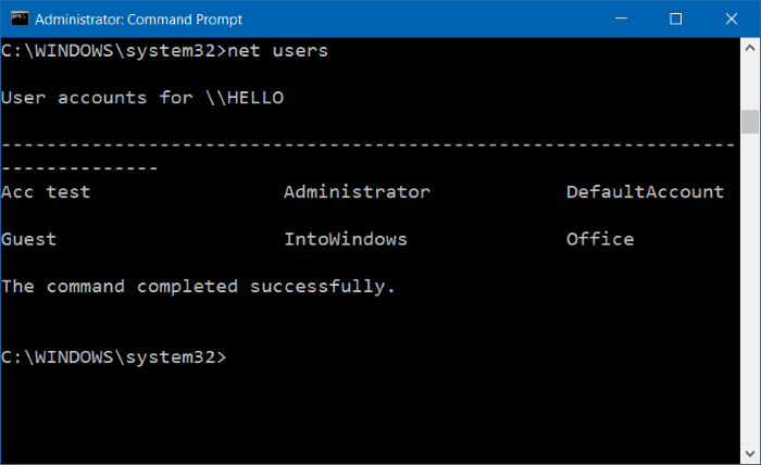 Perintah net users di Command Prompt