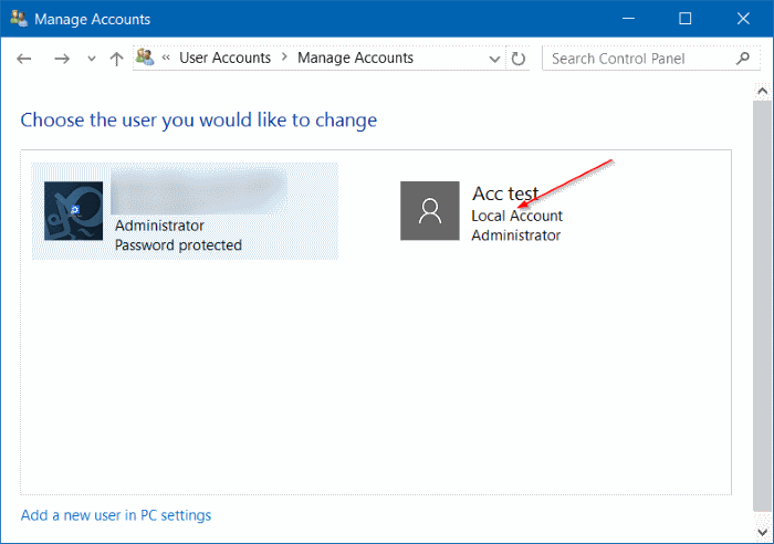 Pilih Pengguna User Accounts Windows 10