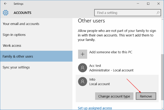 Settings Accounts Family and other users