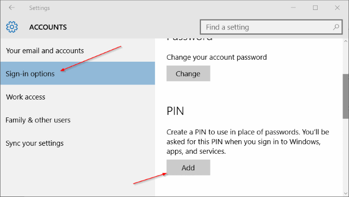 Sign in options Windows 10