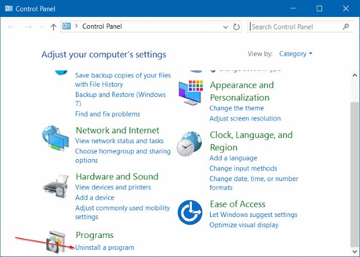 Uninstall a program Control Panel Windows 10