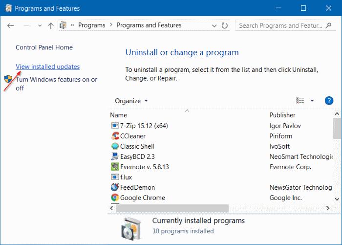 View installed updates Windows 10