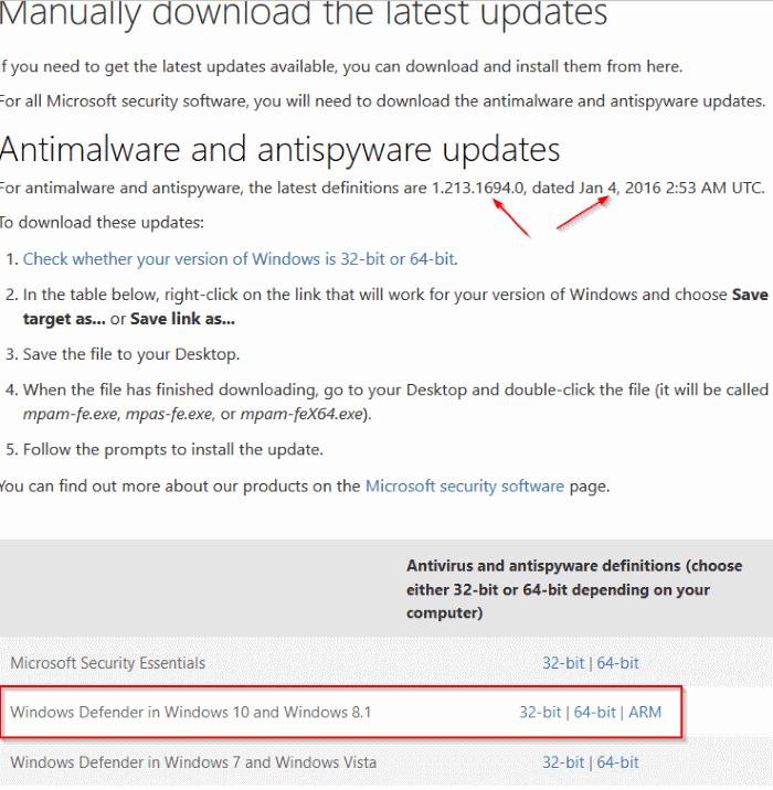 Download update offline Windows Defender
