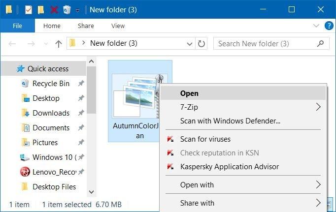 Install themepack theme Windows 10