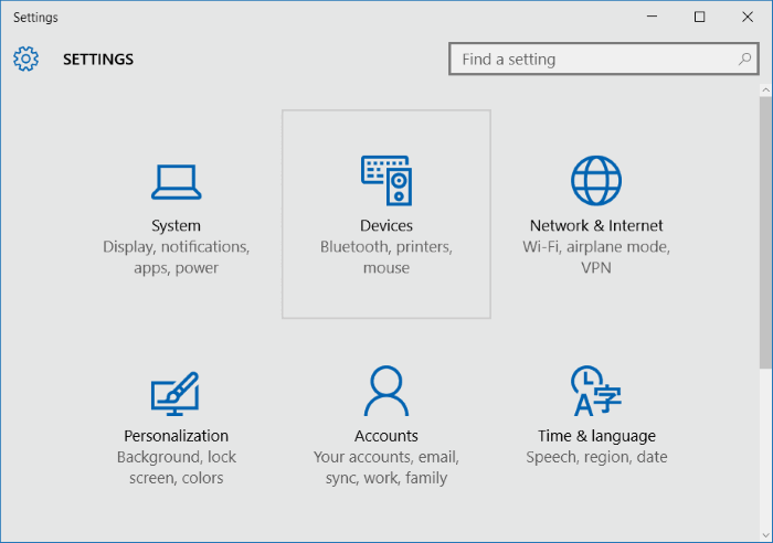 Settings Devices Windows 10