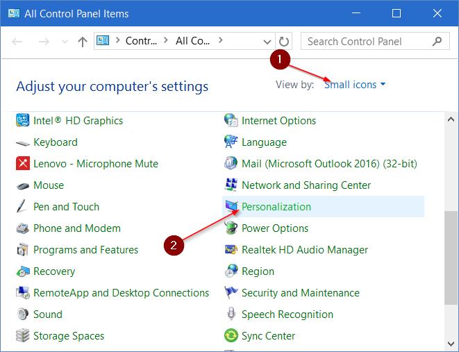 Ubah View Control Panel ke Small icons