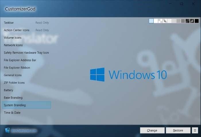 CustomizerGod Branding Windows 10