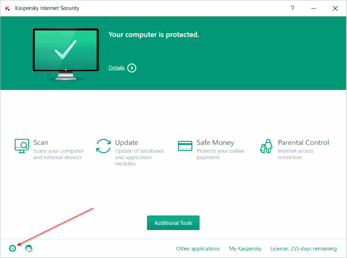 Icon Setting Kaspersky Internet Security