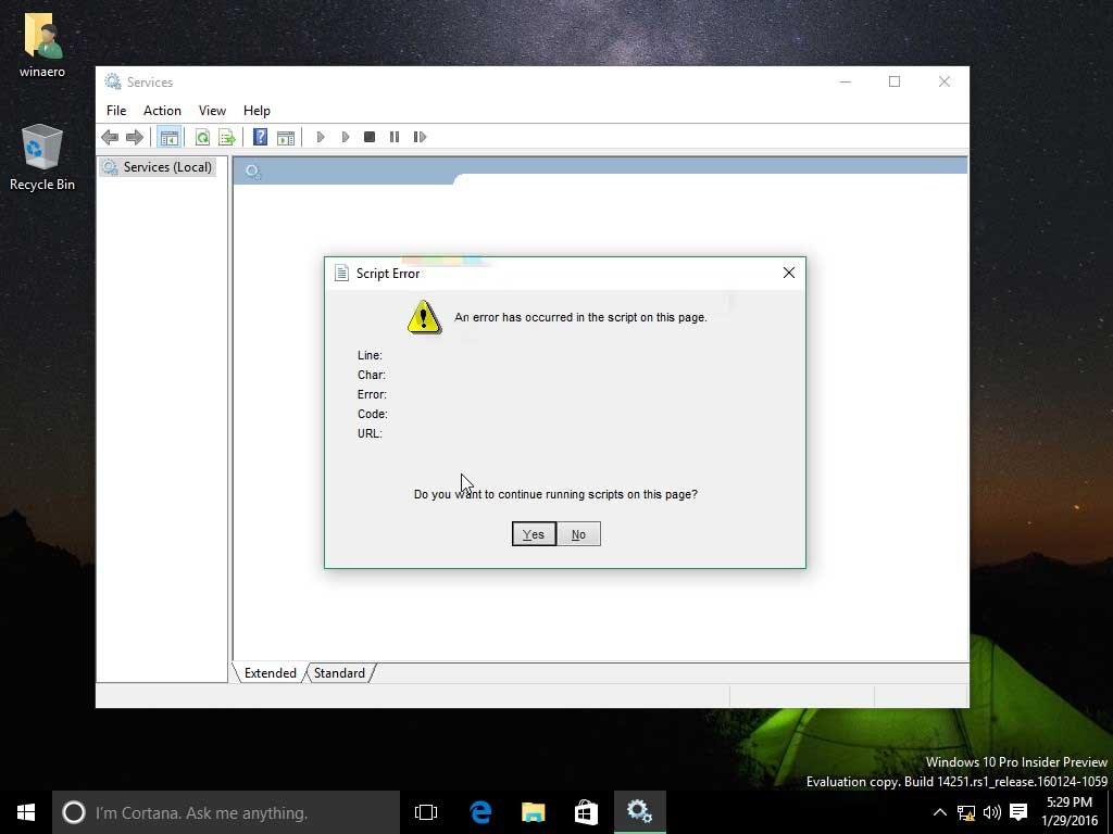 Javascript Error Windows 10