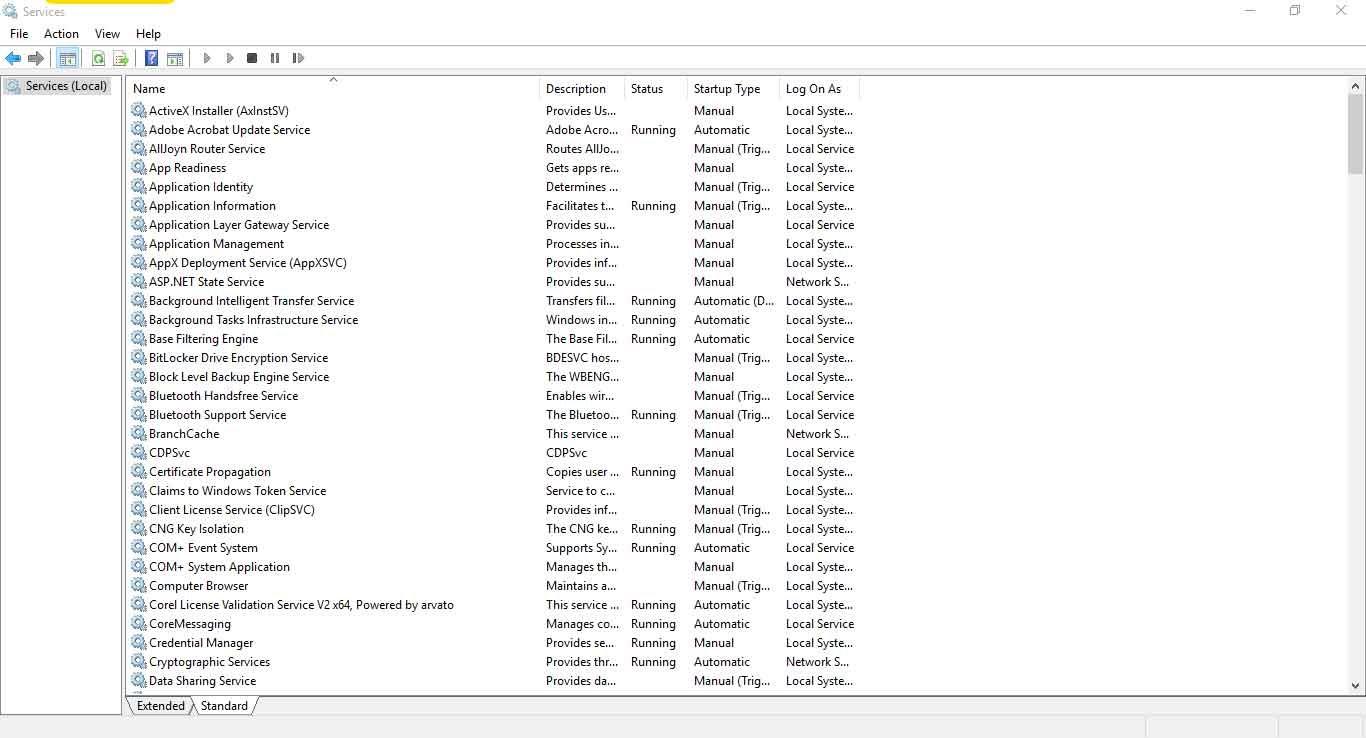 Jendela Services (services.msc) Windows 10