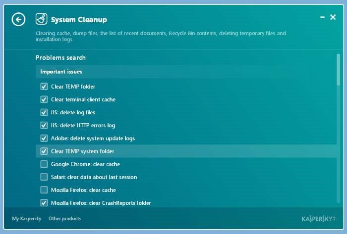 Pengaturan Kaspersky Cleaner
