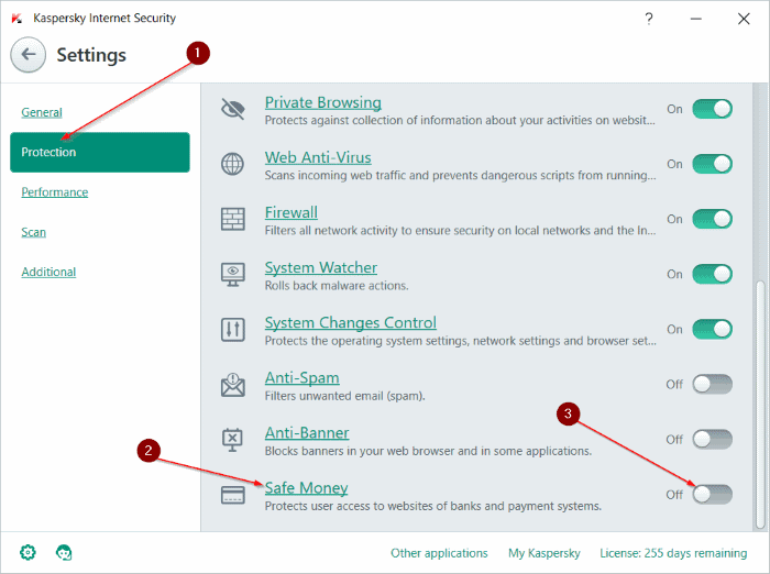Tab Protection Kaspersky Internet Security
