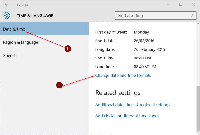 Time & Language Settings